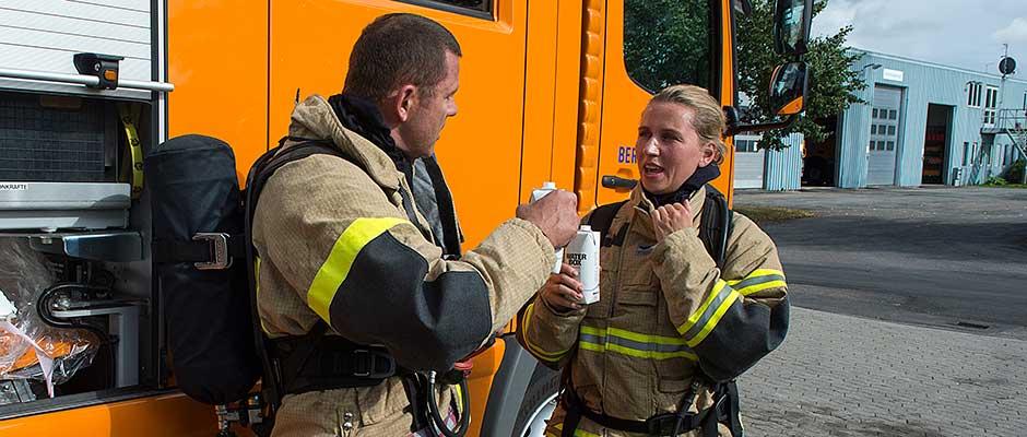 Minister under brandøvelse